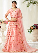 Peach Satin Silk Lehenga Choli