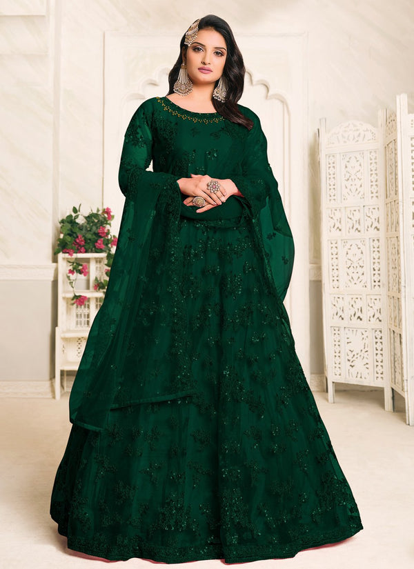 Green Net Floor Length Anarkali Suit