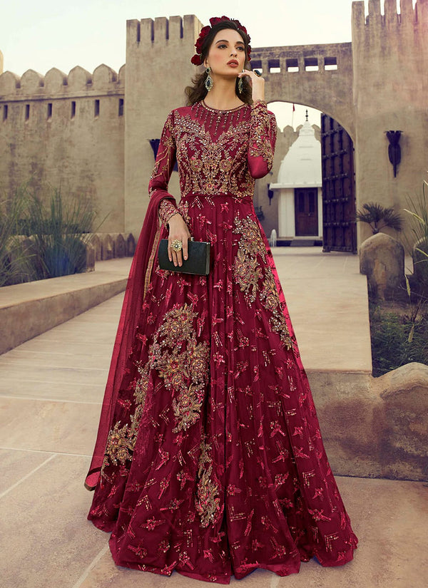 Deep Red Golden Embroidered Flared Anarkali Suit