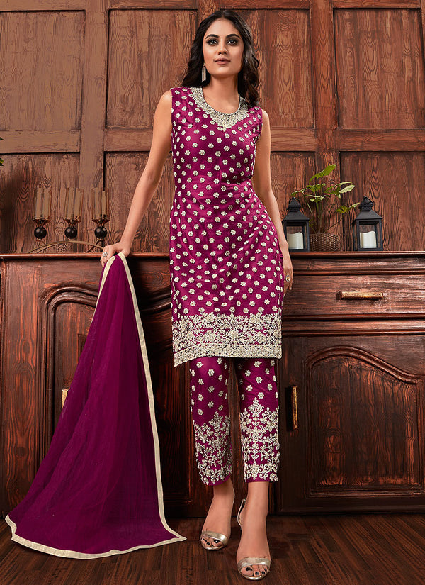 Plum Golden Embroidered Designer Jacket Style Pants Suit