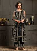 Black Multi Embroidered Jacket Style Pant Suit