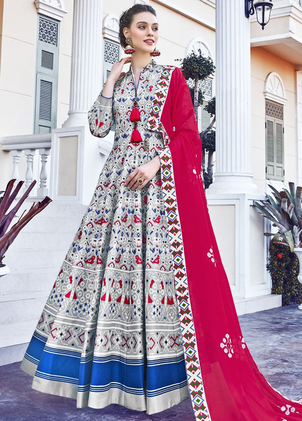 White Multi  Patola Print Cotton Silk Anarkali Suit