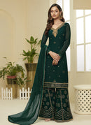 Dark Green Embroidered Designer Sharara Suit