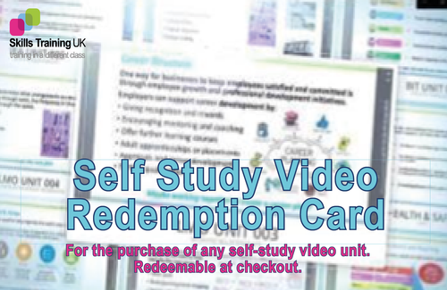 Skills Training UK - Self Study Video Unit - Redemption Card