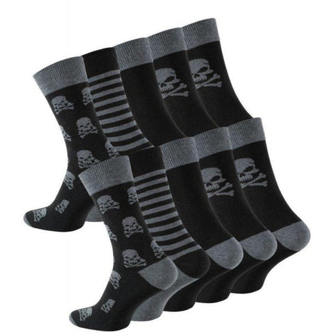 5 Pairs Mens Cotton Socks with Skull-Design - cottonpremierr