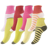 8 Pairs of Ladies Cotton Socks Funky Multicolor with loop grip - cottonpremierr