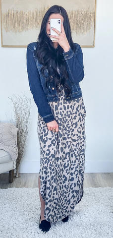 pair maxi dress with denim or leather jacket