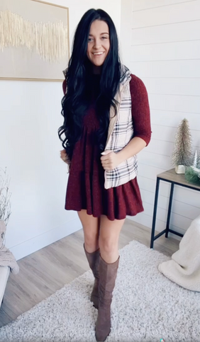 layer puffer vest and cami with dress