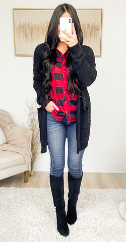 style flannel with cardigan