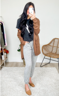 pair joggers with a cardigan
