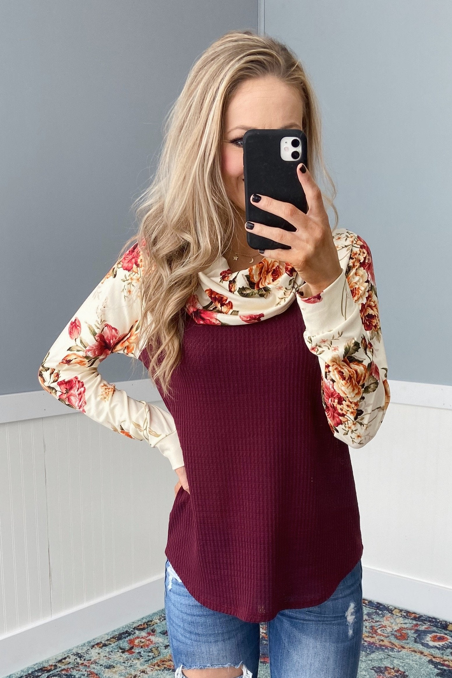 Waffle Knit Floral Cowl Neck Top- Burgundy