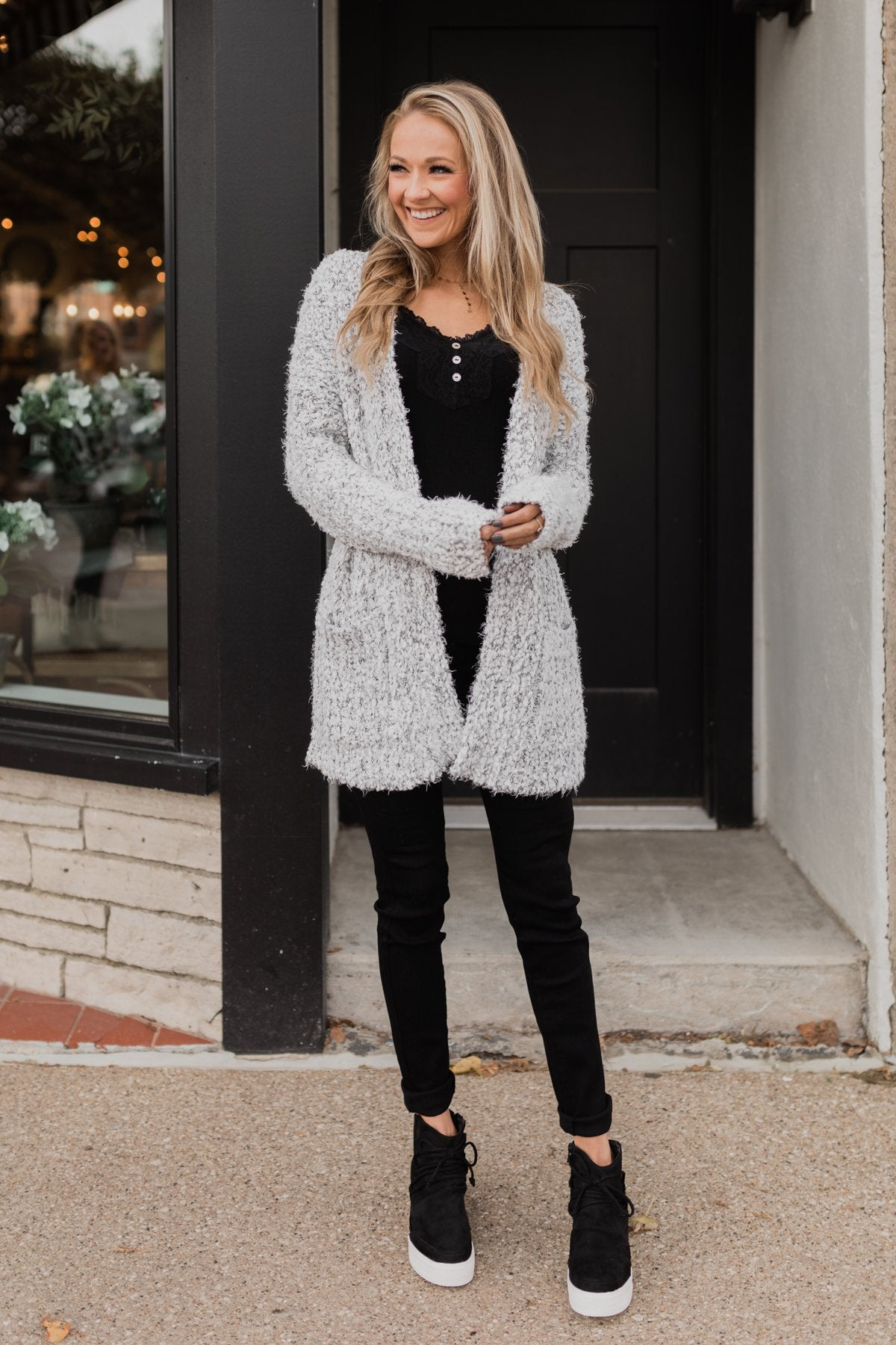 So In Love Popcorn Cardigan- Light Grey & Ivory