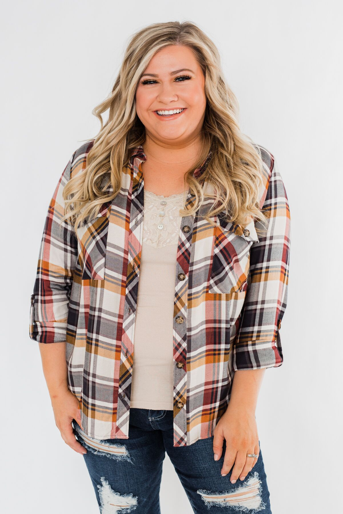 You've Got Me Hooked Flannel Top- Navy & Rust