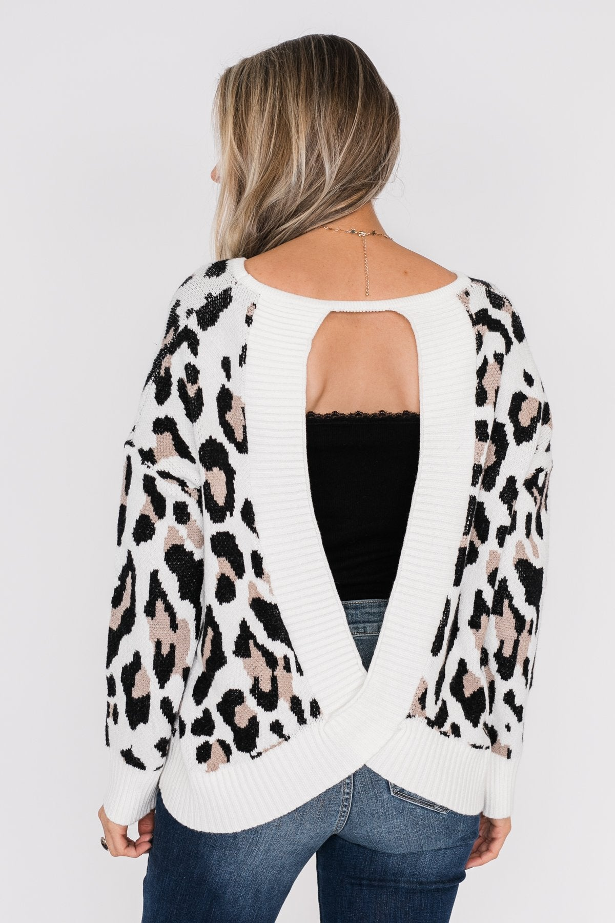 Untamed Beauty Open Back Sweater- Ivory