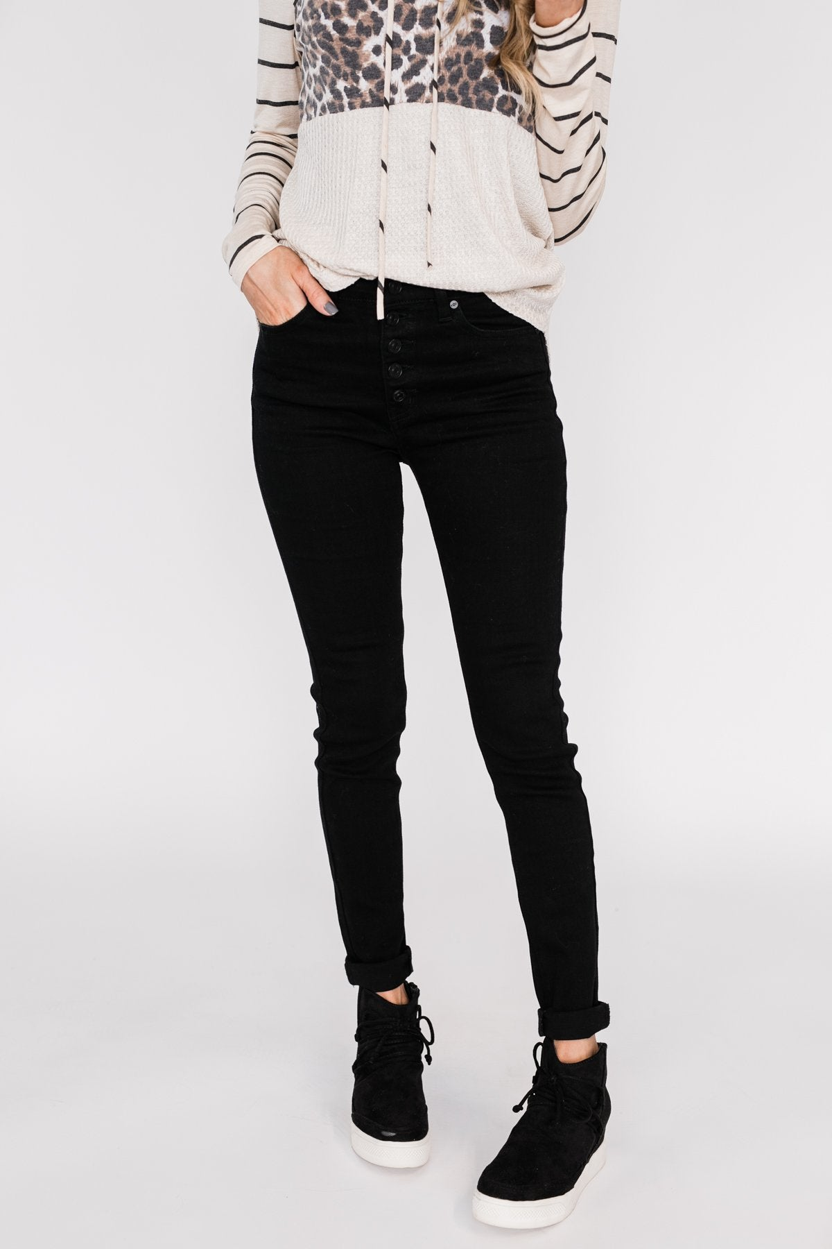 KanCan Button Fly Jeans- Hope Wash