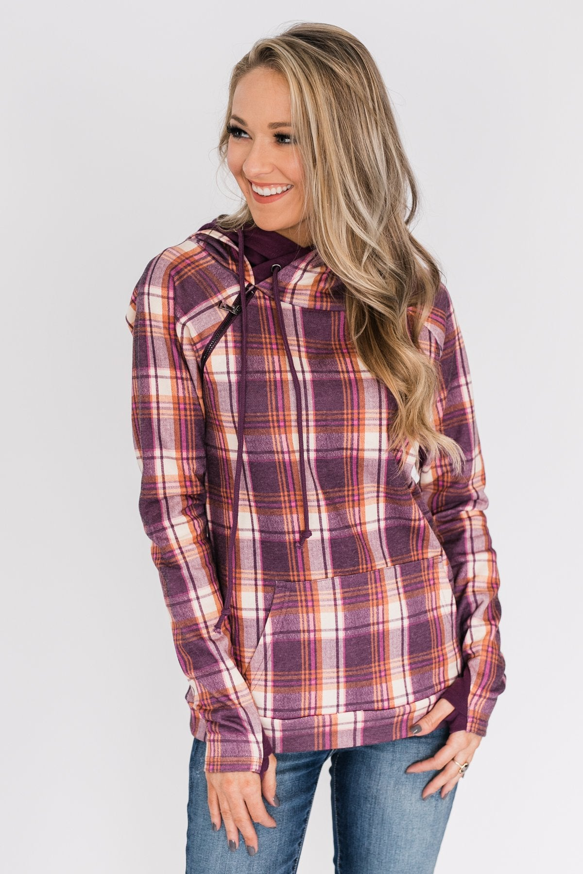 Plaid Drawstring Double Hoodie- Purple