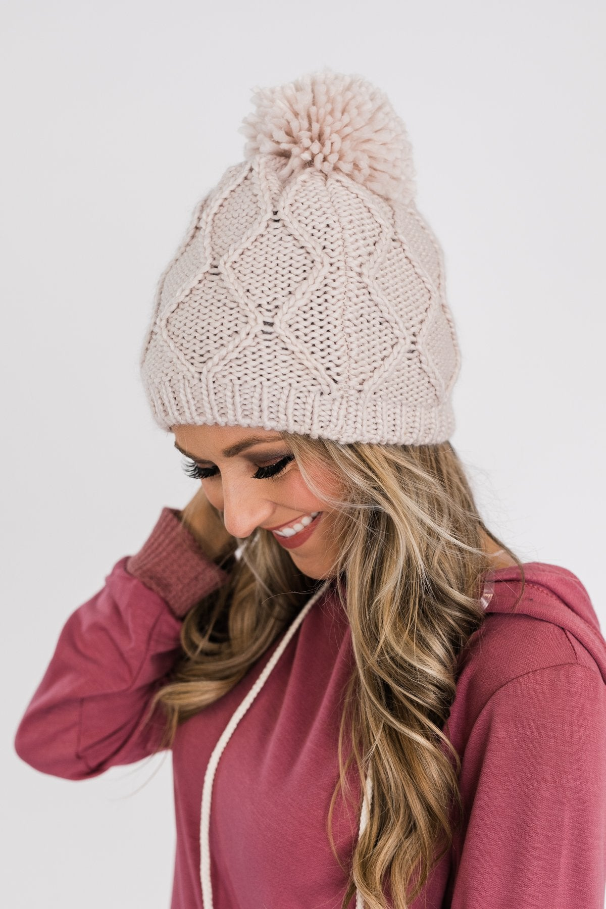 Fleece Lined Pom Beanie- Cream