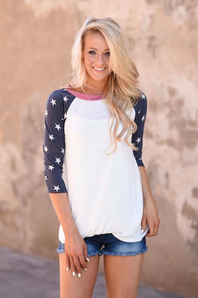 Star Baseball Sleeve Top