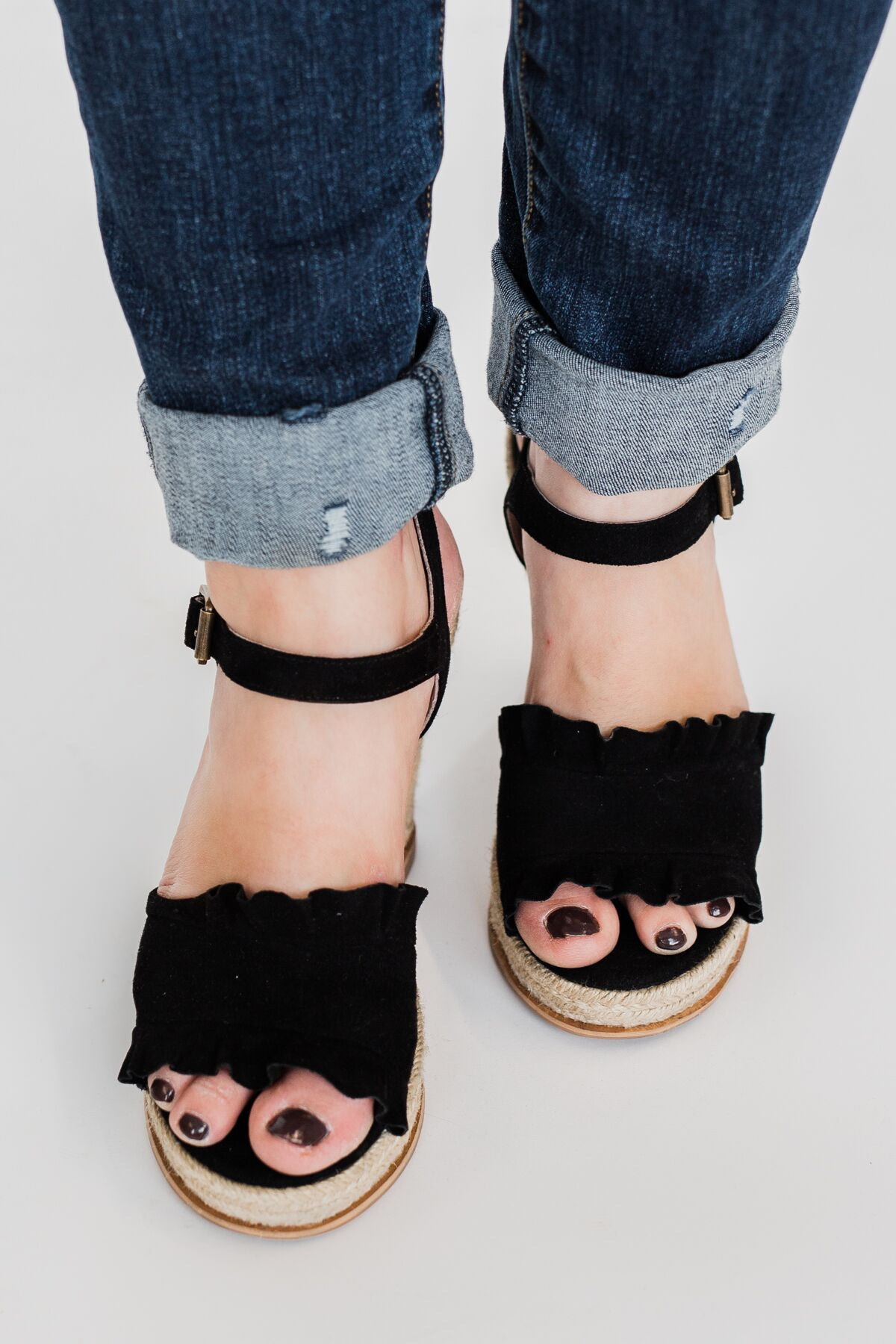 Naughty Monkey Love Wedges- Black
