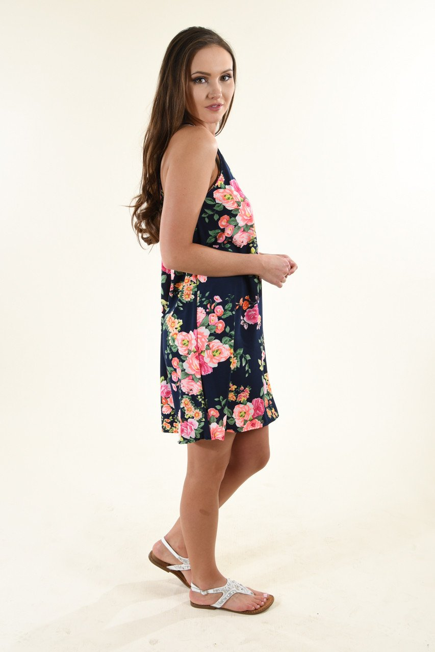 Floral Perfection Navy Dress