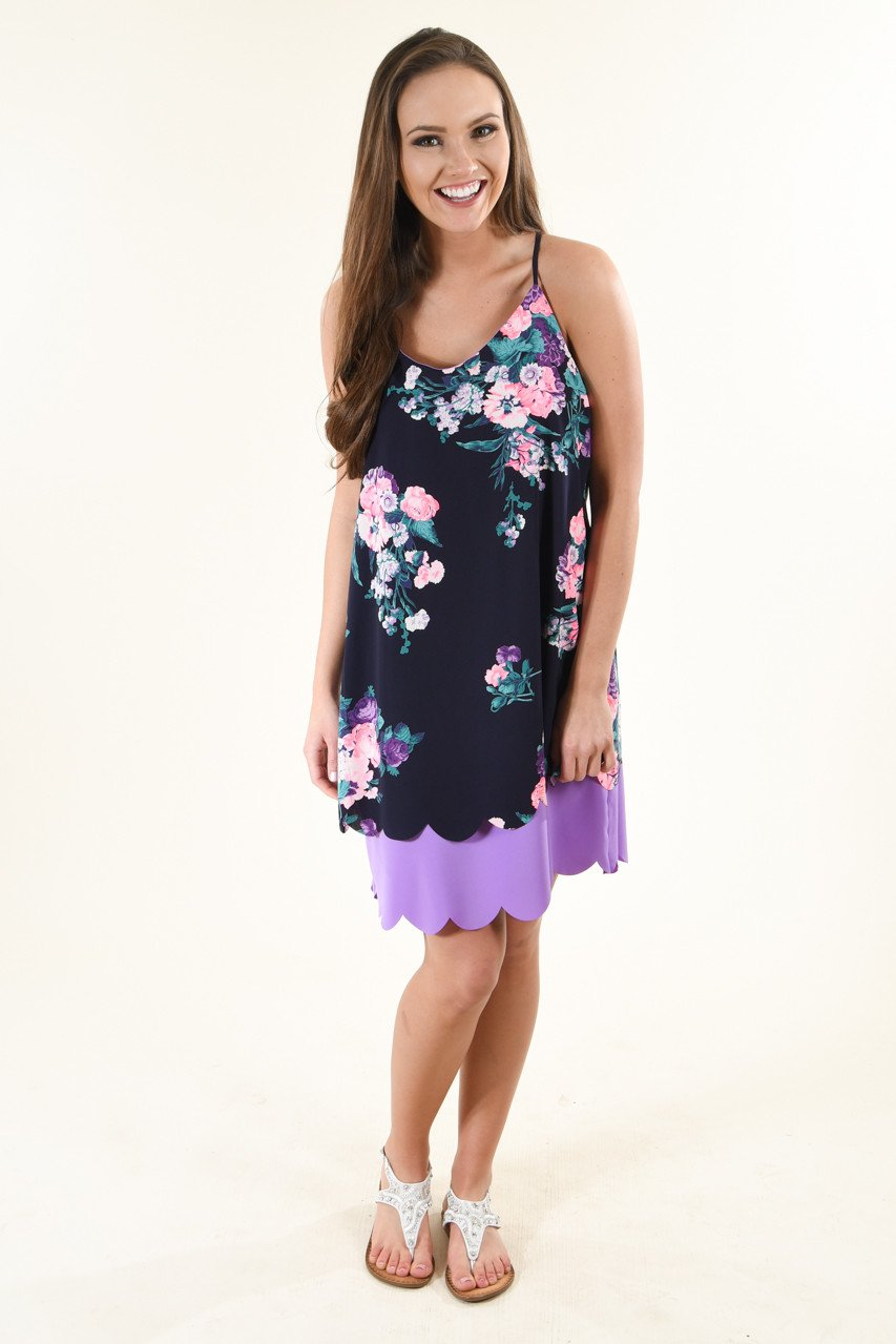 Deep Purple Floral Dress