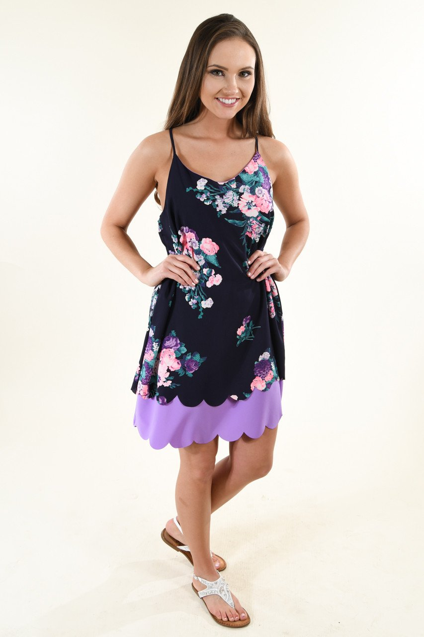 Purple and white floral dress.