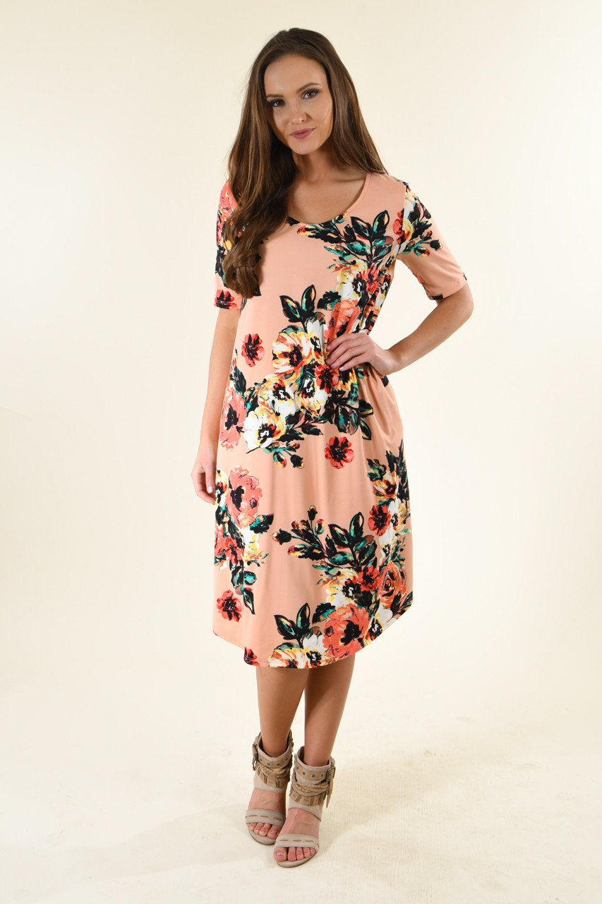 Don't Be Shifty Floral Dress ~ Peach