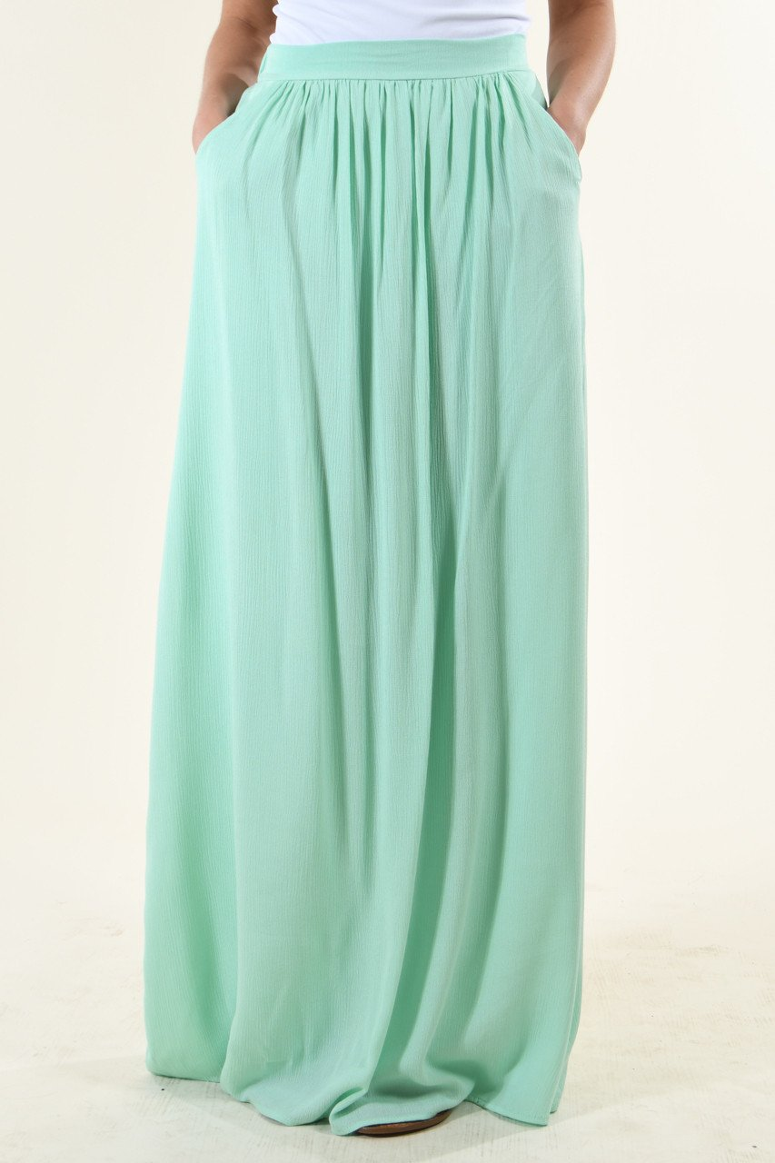 Bright Mint Maxi Skirt