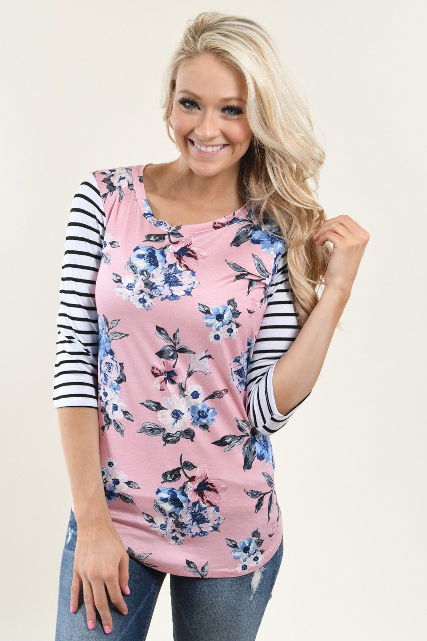 Striped Floral Top ~ Pink