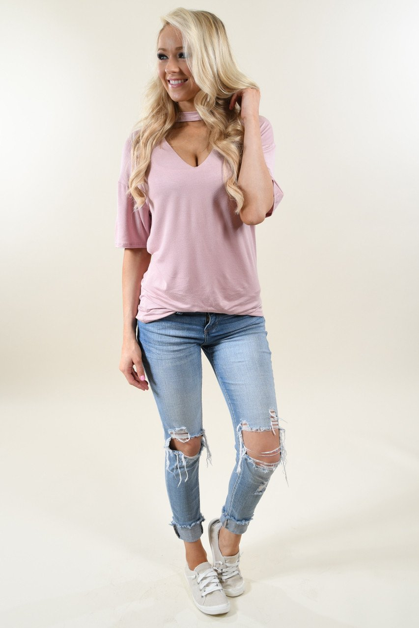 Raw Edge Mock Neck Top ~ Blush
