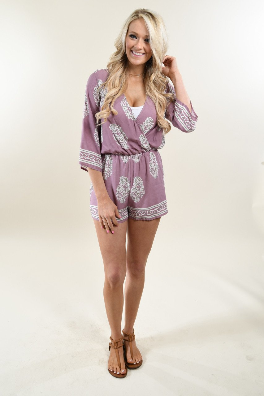 Mauve Feather Romper
