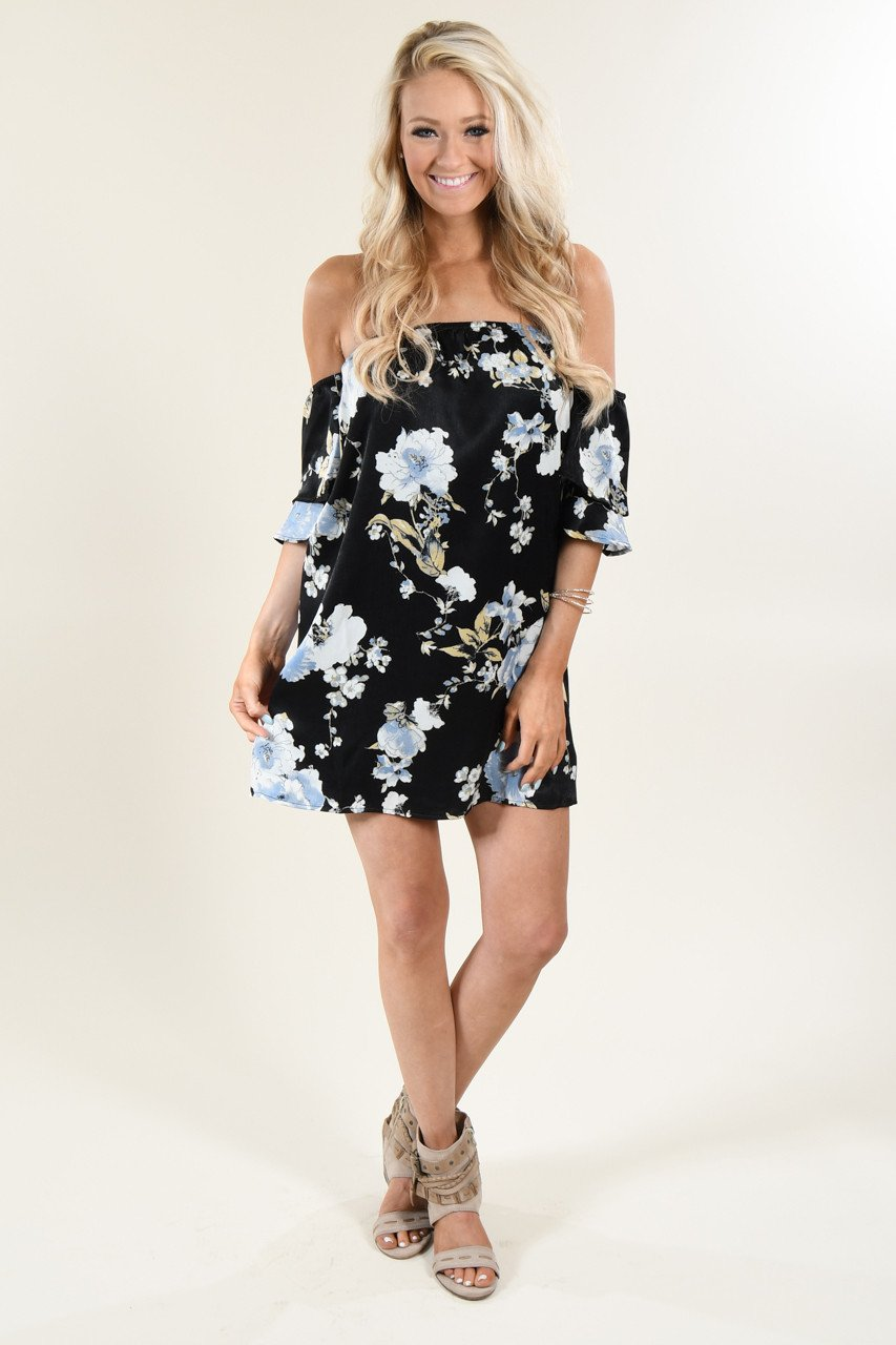 ad8adf5b0926 Black Floral Off The Shoulder Dress – The Pulse Boutique