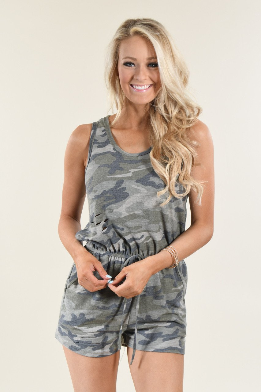 Distressed Camo Romper