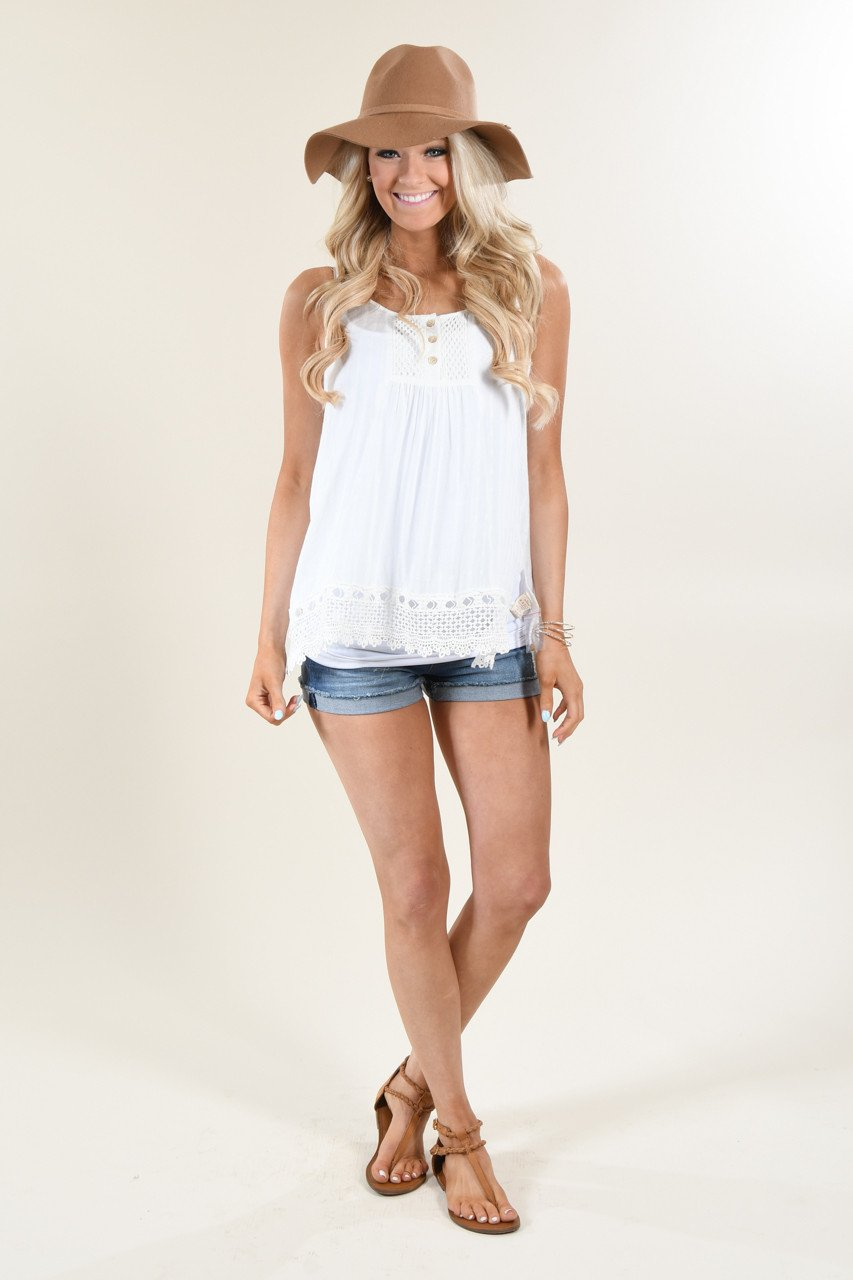 Dainty & Sweet Ivory Tank Top