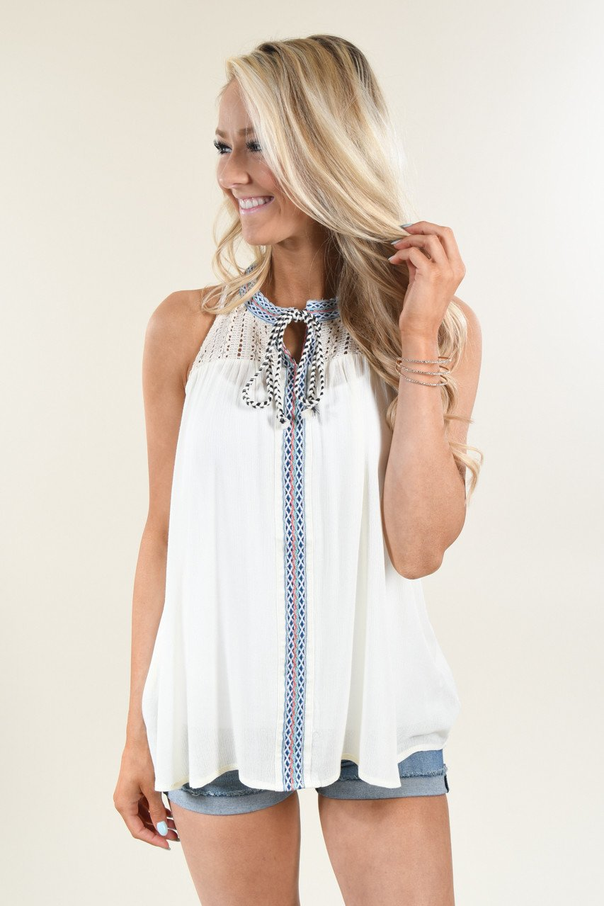 Cream Detail Tank Top
