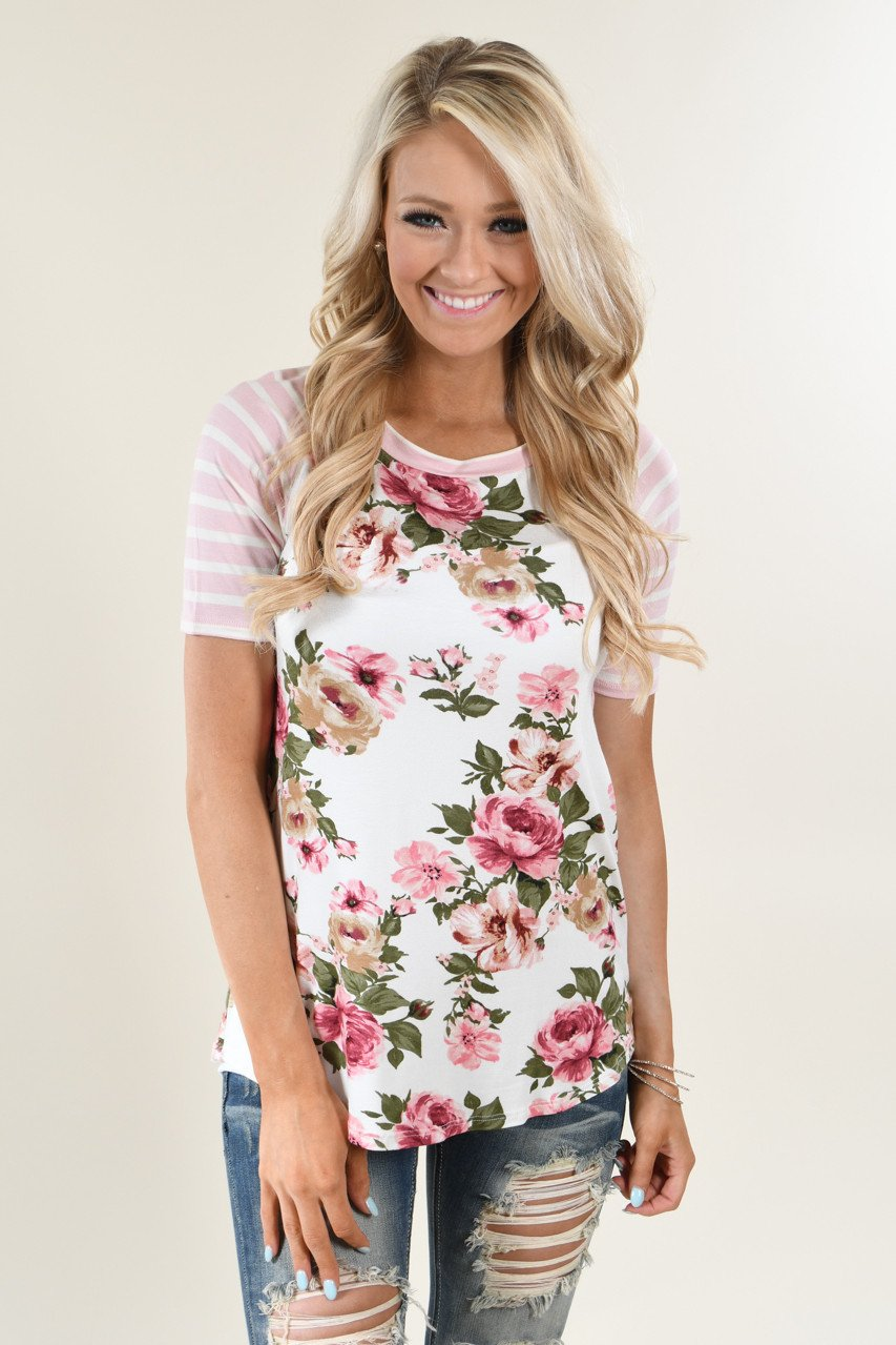 All For Your Pink Floral Top