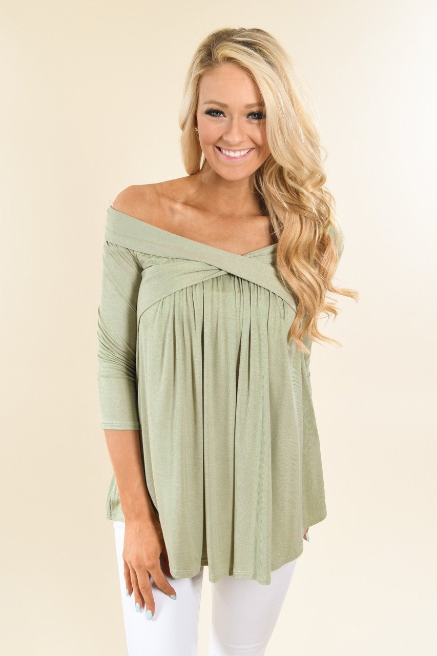 Be My Love 3/4 Top ~ Spring Green