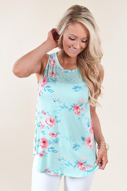 Show Your Best Side Floral & Stripes Top ~ Mint