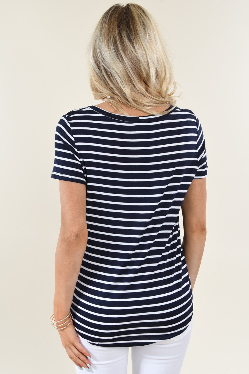 Navy Striped Scoop Neck Knot Top