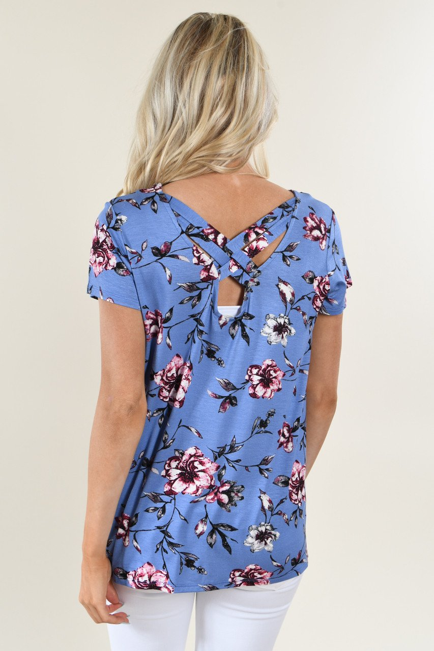 Masterpiece Floral Top ~ Blue