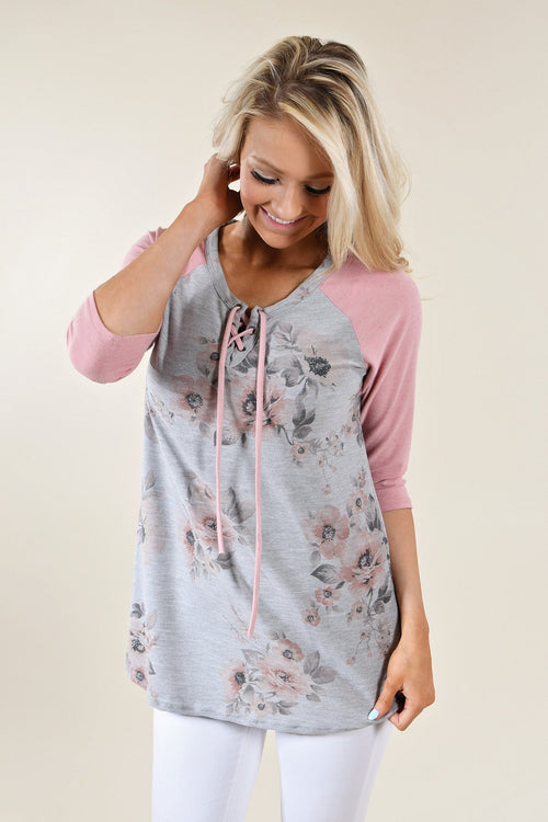 3/4 Sleeve Pink & Grey Floral Top