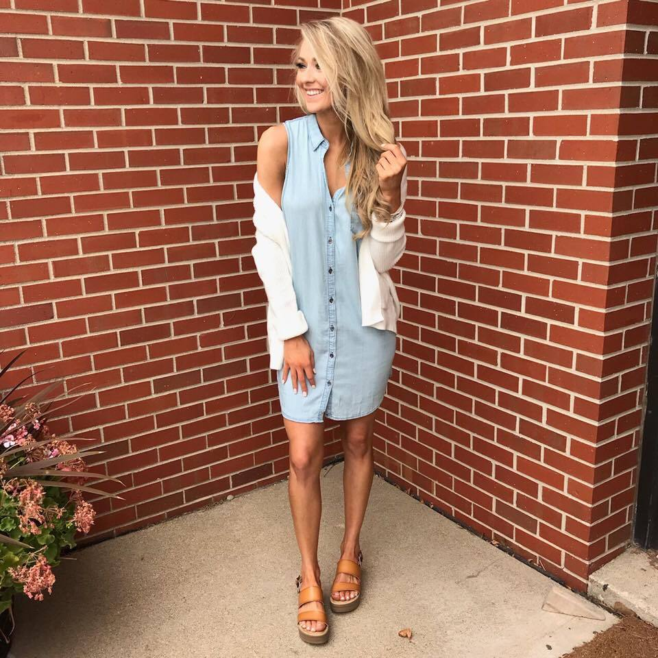 Denim Sleeveless Dress Outfit