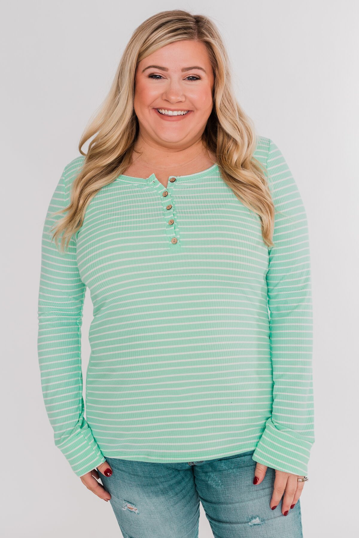 Happy As Can Be Striped Henley Top- Cheerful Mint