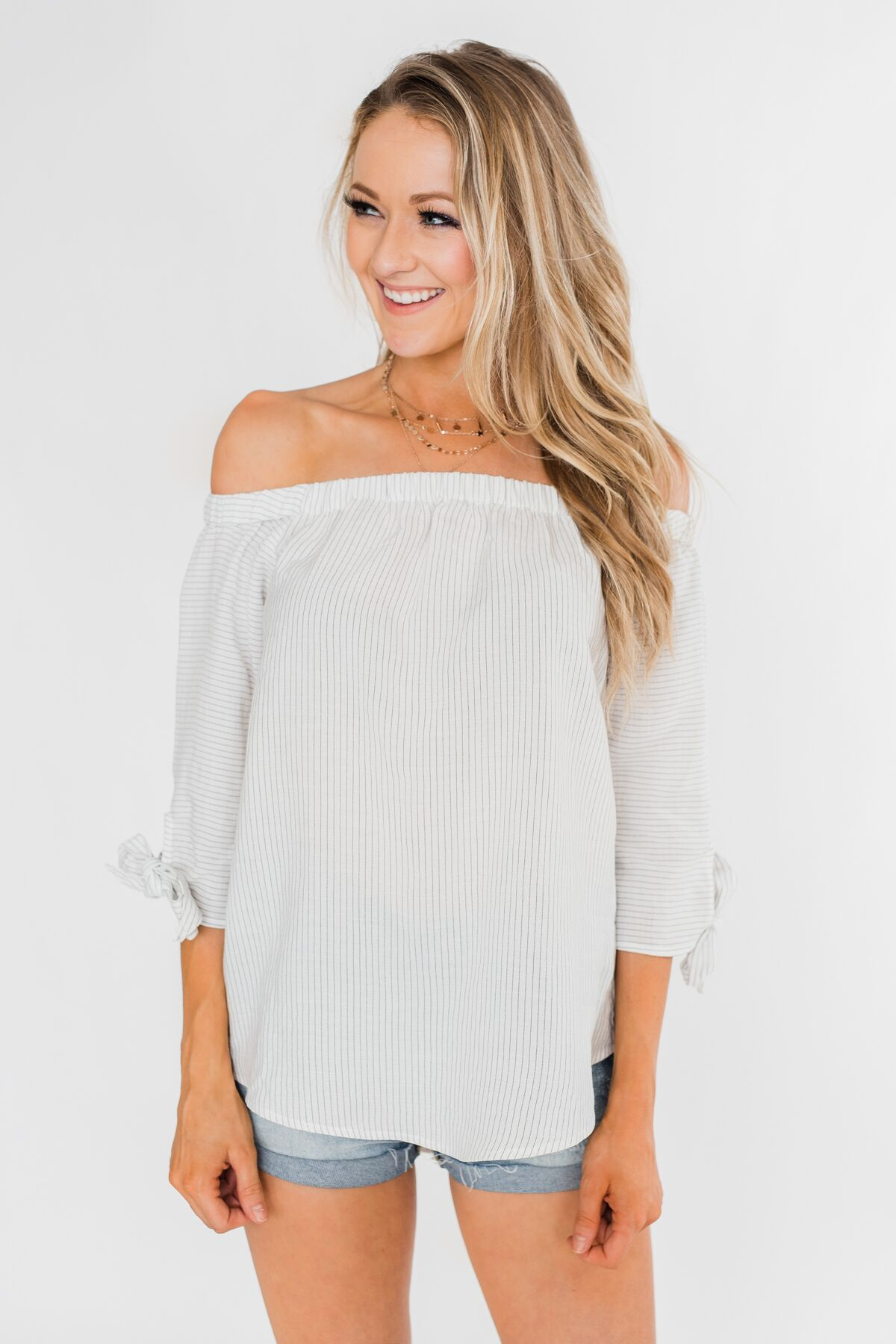 d530296d1c7dbb Off The Shoulder Striped Tie Sleeve Top- Ivory – The Pulse Boutique