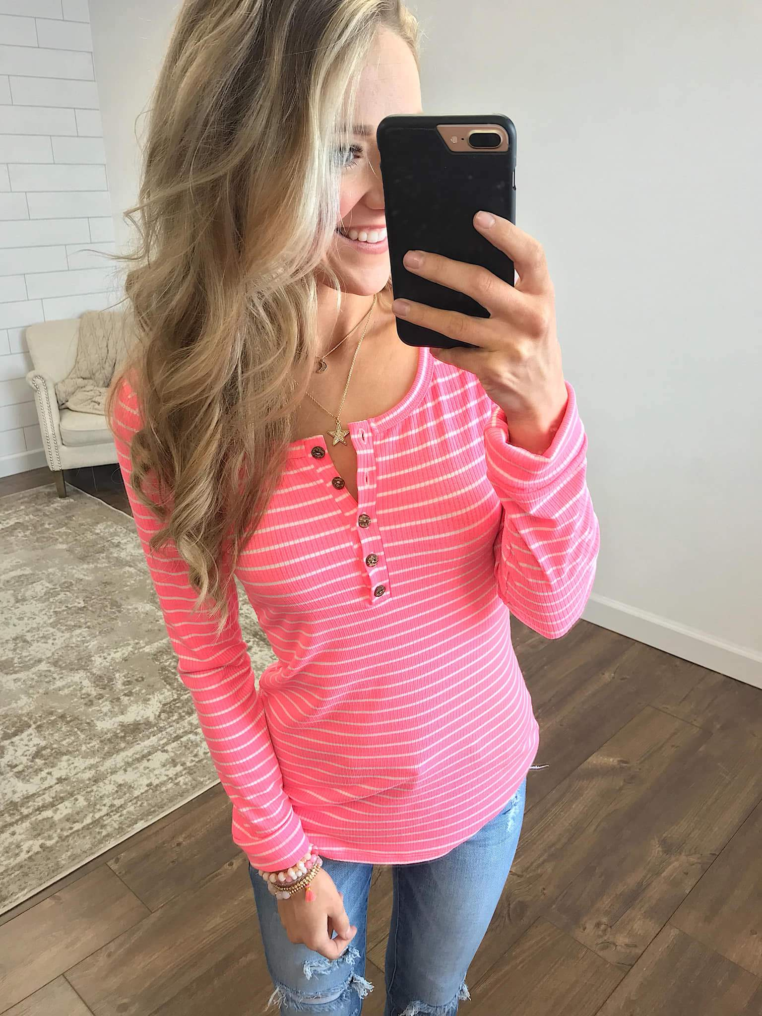 Happy As Can Be Striped Henley Top- Cheerful Pink