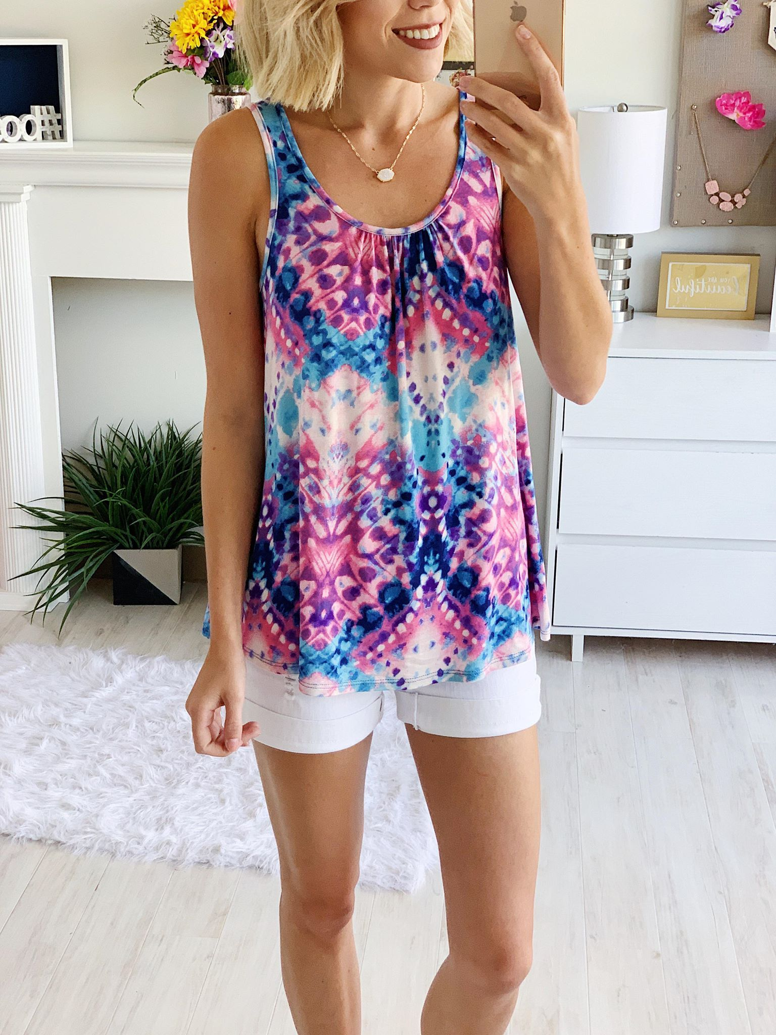 Lovely Lady Floral Short Sleeve Top- Pink