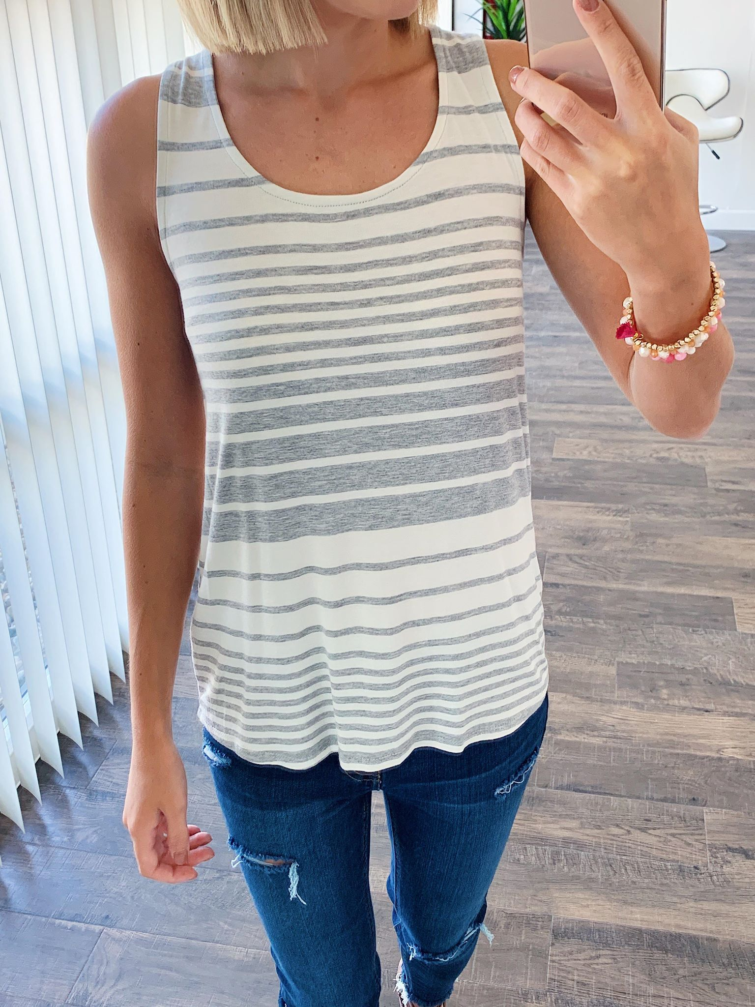 Bow Back Striped Tank Top- Grey & Ivory