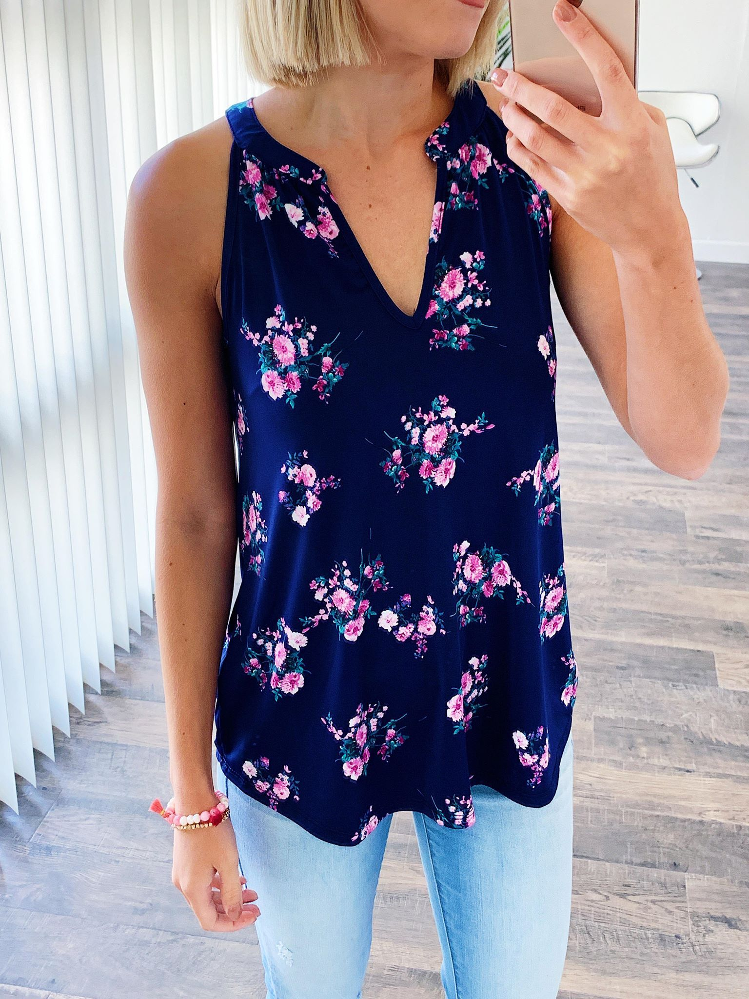 When It Comes To You Floral Tank Top- Navy