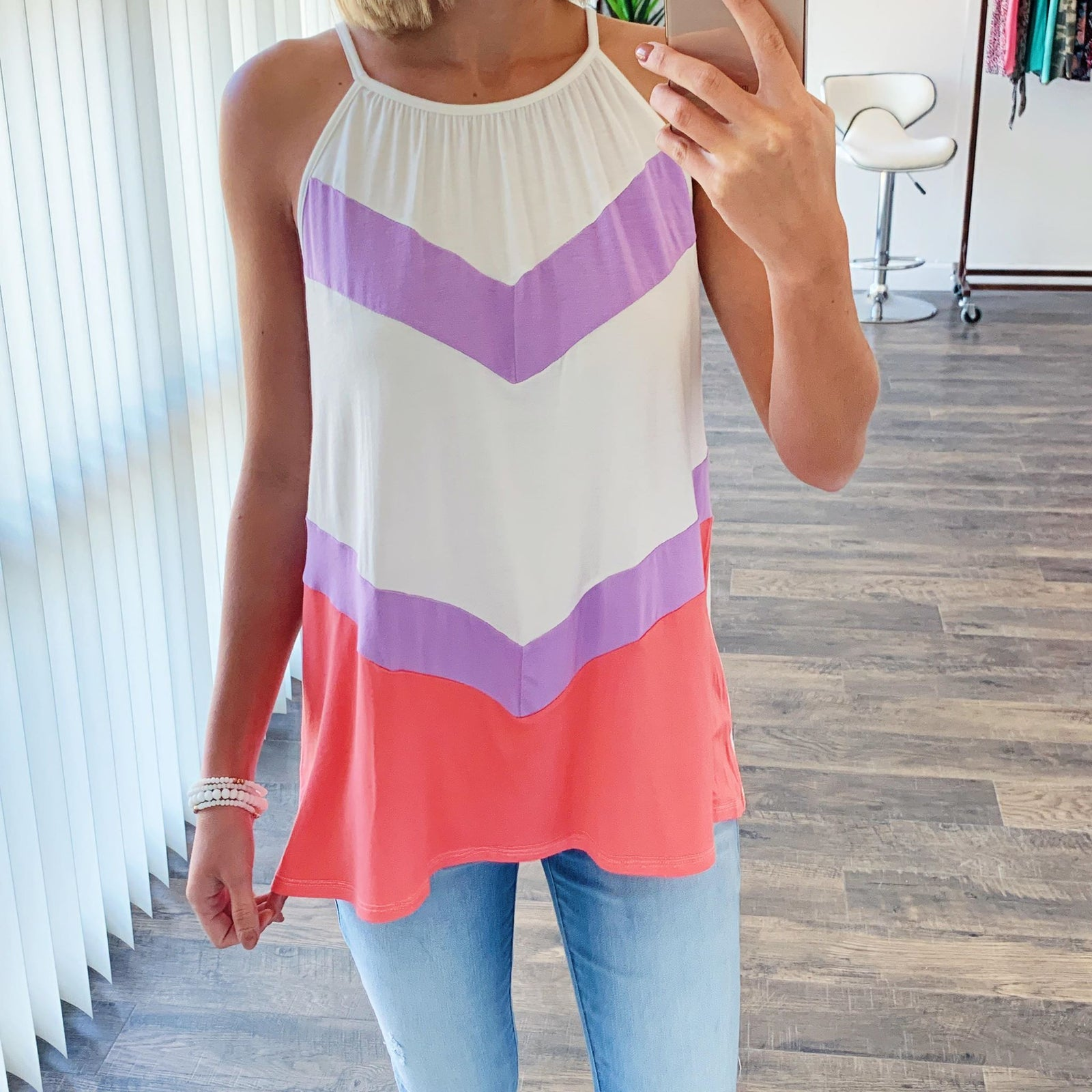 Cute As Can Be Striped Tank Top- Ivory & Coral