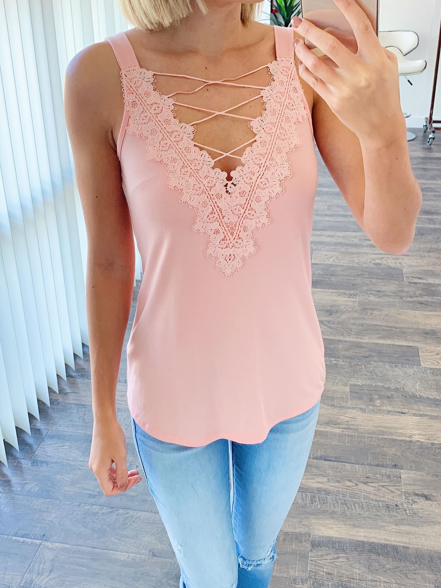 Front Lace Criss Cross Tank Top- Blush